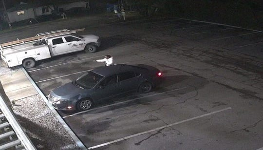 A picture of Terrell Kurt Myers and the Ford Fusion police say he drove away in after Wednesday night's shooting. The image comes via video surveillance at the Red Lion Inn and Suites.