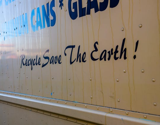 "A truck parked outside the Salinas Recycling waste management company has a design that reads ""Recycle Save The Earth."" Jan. 10, 2020."