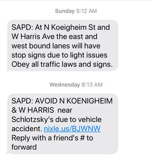 Screenshot of Nixle text alerts about the missing traffic light at West Harris Avenue and North Koenigheim.