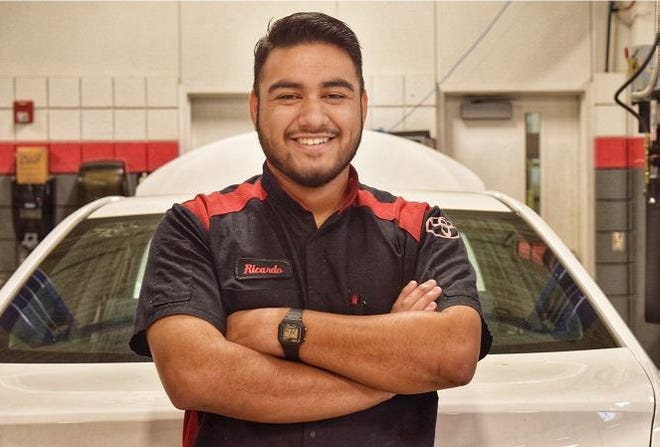 Texas State Technical College student Ricardo Echeverria of San Angelo is in the Toyota Technician Training and Education Network, or T-TEN, in the Automotive Technology program at the school's Waco campus.