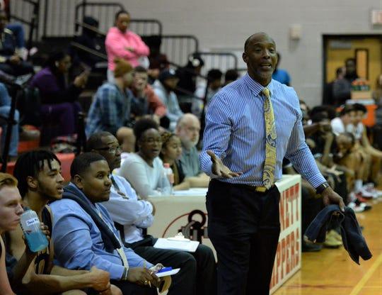 Pocomoke boys basketball coach Derrick Fooks disagrees with an official about a call on Thursday, Jan. 9, 2020.