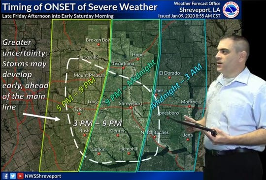 U.S. National Weather Service meteorologist Matthew Duplantis discusses the anticipated timeframe for anticipated severe weather Friday evening into Saturday morning in the local region.