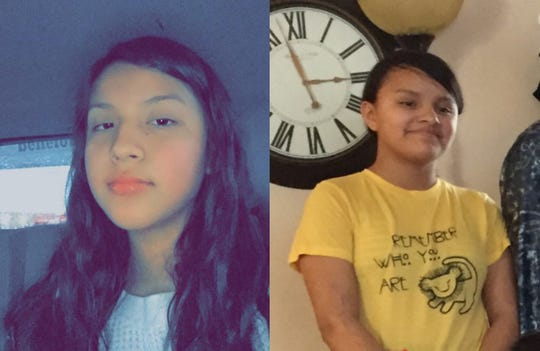 Rapid City police are searching for two missing 12-year-olds: Kadiee (left) and Ruth (right) Walking Eagle. Contact police at 605-394-4131 with information.