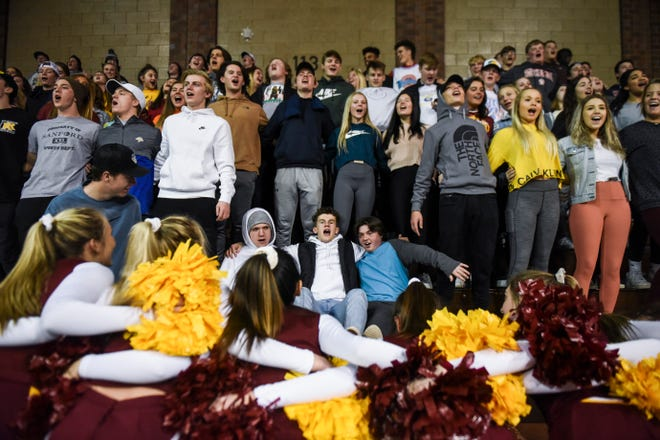 Roosevelt students cheer on their team during the Throwback Classic game against O'Gorman on Thursday, Jan. 9, 2020 at the Sanford Pentagon.