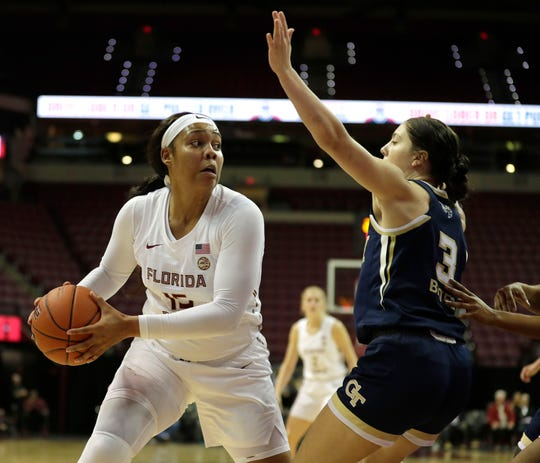 Florida State Seminoles forward Kiah Gillespie (15) looks to shoot for two. The Seminoles trail the Georgia Tech Yellow Jackets 24-28 at the half on Thursday, Jan. 11, 2020.