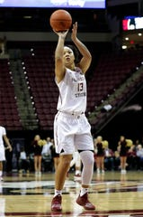 Florida State Seminoles guard Nausia Woolfolk (13) shoots a free throw to score her 1,000th point. The Seminoles trail the Georgia Tech Yellow Jackets 24-28 at the half on Thursday, Jan. 11, 2020.