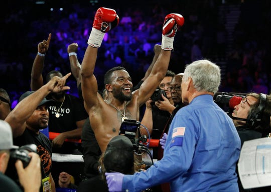 Jesse Hart celebrates after defeating Sullivan Barrera in a light heavyweight boxing match Saturday, June 15, 2019, in Las Vegas.