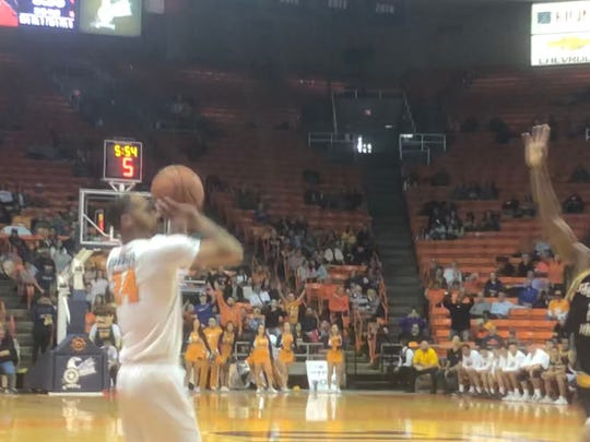 UTEP's Daryl Edwards puts up a 3-pointer in the second half of UTEP's victory over Southern Miss on Thursday night, Jan. 9, 2020, at the Don Haskins Center.