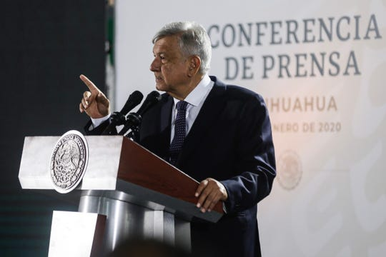 Mexican President Andrés Manuel López Obrador speaks Friday, Jan. 10, 2020, at a news conference at a military site in Juárez.