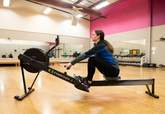 Rebecca Hamrick, a wellness specialist at the Eastside Family YMCA in Taylors, demonstrates exercise that are a part of the new Flex Fit program.