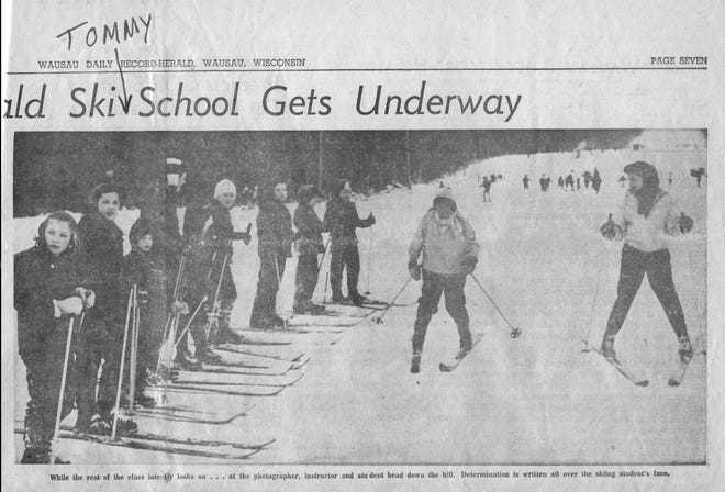 Tom Riordan's mother kept the clipping of the Wausau Daily Record-Herald which published his photo on his first day of skiing. He was 8.