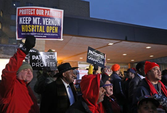People gathered at a press conference to launch a massive community-driven, grassroots campaign to save Mount Vernon Hospital in Mount Vernon Jan. 10, 2020.