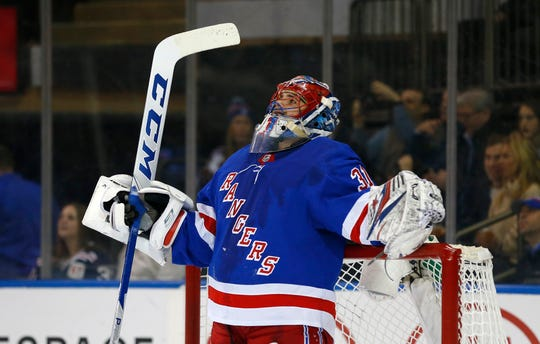 Jan 9, 2020; New York, New York, USA;  New York Rangers goaltender Igor Shesterkin (31) reacts after giving up a goal against the New Jersey Devils during the first period at Madison Square Garden. Mandatory Credit: Noah K. Murray-USA TODAY Sports