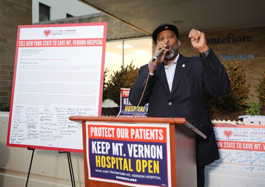 Stephen Pogue, senior pastor at Greater Centennial A.M.E. Zion Church speaks a press conference to launch a massive community-driven, grassroots campaign to save Mount Vernon Hospital in Mount Vernon Jan. 10, 2020.