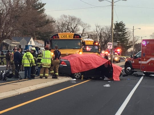 A 16-year-old girl was killed and three other teens injured when a school bus struck their car near New Castle Thursday afternoon.