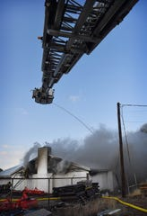The Wichita Falls Fire Department battled a three-alarm fire at Berend Turf & Tractor Friday with 18 pieces of equipment and 37 firefighters. No injuries were reported.