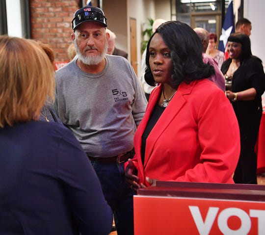 Annetta Pope visits with supporters Thursday at the First Texas Building after announcing her campaign to run for Justice of the Peace, Wichita County Precinct 1 Place 1.