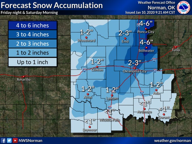 A winter weather advisory is in effect from 3 PM Friday until midnight Saturday for northwestern Oklahoma. A Winter Storm Watch is in effect from 6 PM Friday until noon Saturday for north central Oklahoma. This includes the cities of Enid, Ponca City, and Stillwater. Up to 6 inches of snowfall is probable.