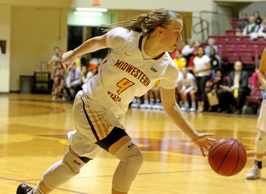Midwestern State's Mica Schneider dribbles in the game against St. Edward's Thursday, Jan. 9, 2020, at D.L. Ligon Coliseum.