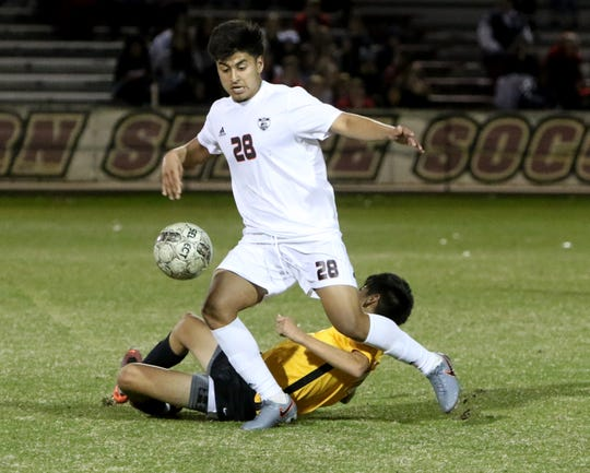 Wichita Falls High's Luis Vera takes possession in the match against Mount Pleasant Thursday, Jan. 9, 2020, at Midwestern State University.