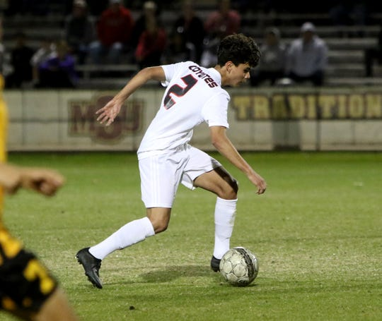 Wichita Falls High's Daniel Alvarez dribbles in the match against Mount Pleasant Thursday, Jan. 9, 2020, at Midwestern State University.