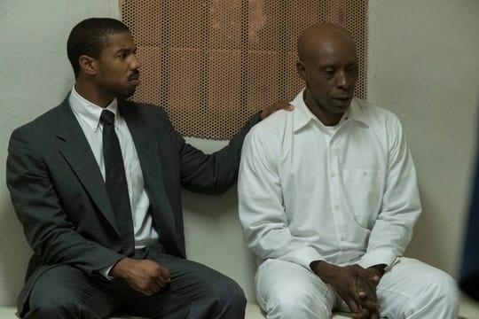 "Bryan Stevenson (Michael B. Jordan) comforts death-row inmate Herbert Richardson (Rob Morgan) before his execution in ""Just Mercy."""
