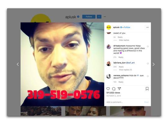 Ashton Kutcher invites people to text him.
