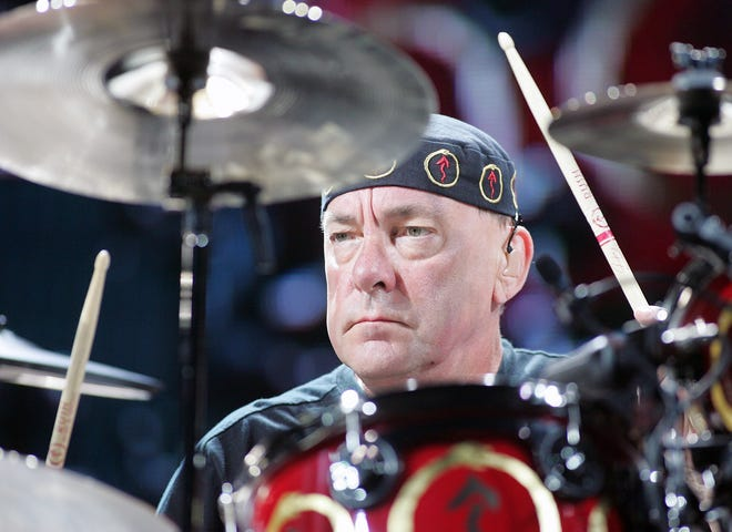 Rush drummer Neil Peart performs in Las Vegas, Nevada on July 28, 2007.