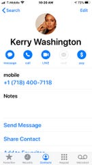 After signing up for the Community text service, actress Kerry Washington gets entered into a contact list.