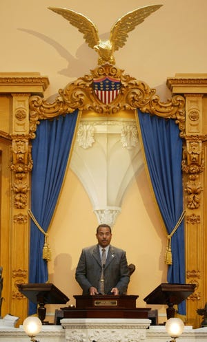 Secretary of State J. Kenneth Blackwell presides over Ohio's electoral college during the voting ceremony at the Statehouse in Columbus, Ohio on Dec. 13, 2004.