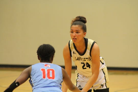 Maleia Bracone (24) leads the T.L. Hanna girls basketball team in points, rebounds, assists and steals.