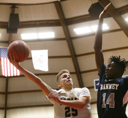 Middletown South James Anderson drives to the basket during first half action.  Ranney Basketball vs Middletown South in Boardwalk Showcase in Middletown on January 11, 2020.