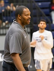 Ranney head coach Tahj Holden at the Hoop Group Boardwalk Showcase on Saturday at Brookdale Community College.