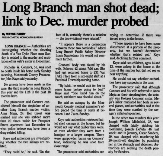 Asbury Park Press clipping detailing the murder of Nicholas Connors in Long Branch in 1995.