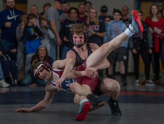 Point Pleasant Boro's Lucas Torre clinched the Panthers' 32-25 win over Lacey Friday night with a 3-0 win over Mason Heck in the final bout of the match at 106 pounds.
