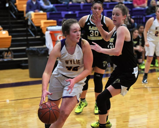 Wylie's Bailey Roberts (42) turns with the ball under the basket against No. 12 Wichita Falls Rider at Bulldog Gym on Friday. The Lady Raiders took the District 4-5A opener 48-30.