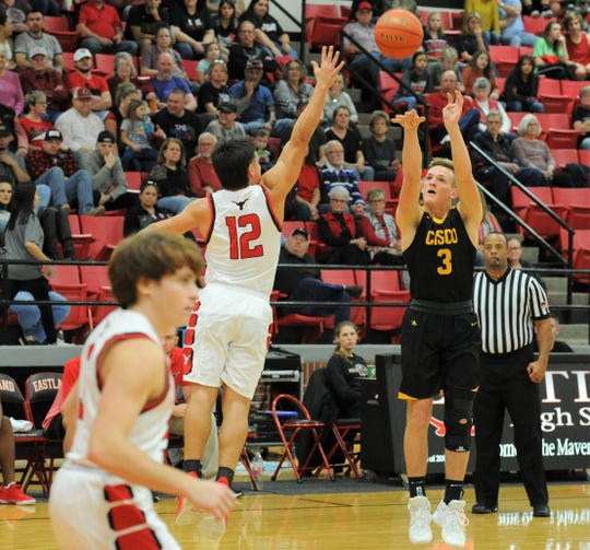 Cisco guard Gibson Hearne (3) shoots a 3-pointer against Eastland on Friday, Jan. 10, 2020, at Marshall Gym in Eastland.