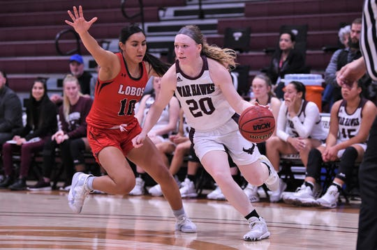 McMurry's Sarah Doherty (20) drives towards the basket against Sul Ross State on Saturday. Doherty finished with nine points as the War Hawks won 87-82.