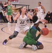 ACU's Breanna Wright (10) pressures Texas A&M-Corpus Christi's Torrionna Nesbitt in the second quarter of the Southland Conference game Saturday, Jan. 11, 2020, at Moody Coliseum.