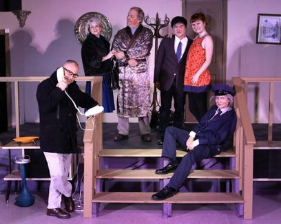"""Paradise Theatre's """"Barefoot in the Park"""" cast includes (from left) Dwight Avery, Jenny Stokes, Carl Olson, Ethan Huang, Elizabeth Hennessey and Hilary Harter."""