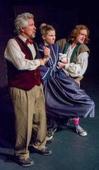 "Wallace Ross (from left), Emily Stecker and Owen Eardley in ""The Complete History of Theatre (Abridged)."""