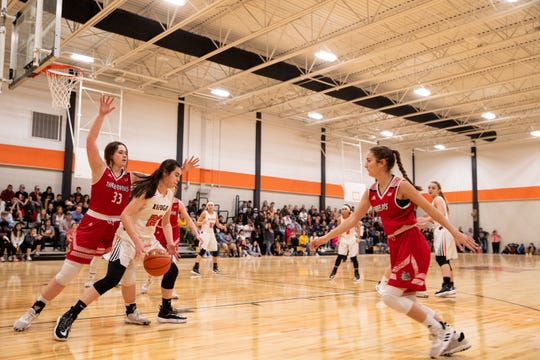 Refugio's girls basketball team plays Three Rivers in the first varsity game in the school's new gym on Friday, Jan. 10, 2020. Refugio's old gym was damaged by Hurricane Harvey in 2017.