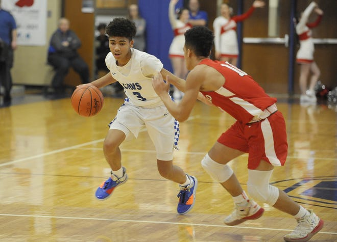 Chillicothe High School guard Tre Beard dribbles the ball along the perimeter during a 63-37 win over Hillsboro on Friday Jan. 10, 2020 at Chillicothe High School in Chillicothe, Ohio.