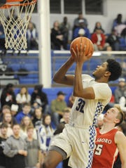 Chillicothe's Jayvon Maughmer goes up for a layup during a 63-37 win over Hillsboro on Friday Jan. 10, 2020 at Chillicothe High School in Chillicothe, Ohio.