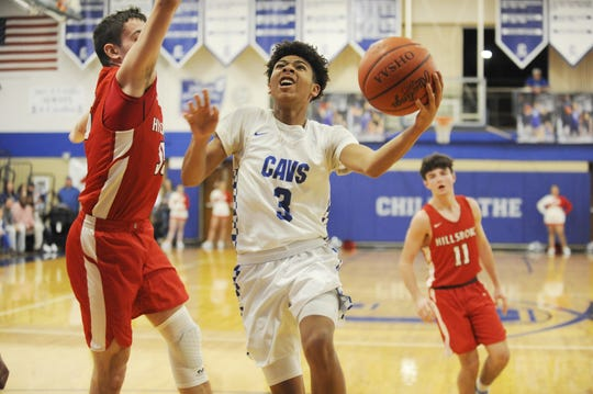 Chillicothe's Tre Beard goes up for a layup during a 63-35 win over Hillsboro on Friday Jan. 10, 2020 at Chillicothe High School in Chillicothe, Ohio.