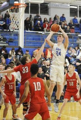 Chillicothe big man Brandon Noel shoots a jumper during a 63-37 win over Hillsboro on Friday Jan. 10, 2020 at Chillicothe High School in Chillicothe, Ohio.