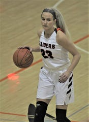 Ryle senior Maddie Scherr with the ball as Ryle defeated Dixie Heights 77-53 in girls basketball Jan. 10, 2020 at Ryle High School, Union, Ky.