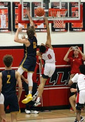 La Salle guard Jeffery Queen can't convert the layup with just seconds left in the game in the boys basketball game between Moeller and LaSalle High School Jan. 10, 2020. Moeller defeated La Salle 45-43.