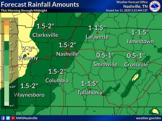 National Weather Service projections of rainfall from storms on Saturday, Jan. 11, 2020.