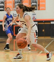 Ridgewood's Kalie Rettos dribbles the ball during Saturday's game. The Generals won 32-22.